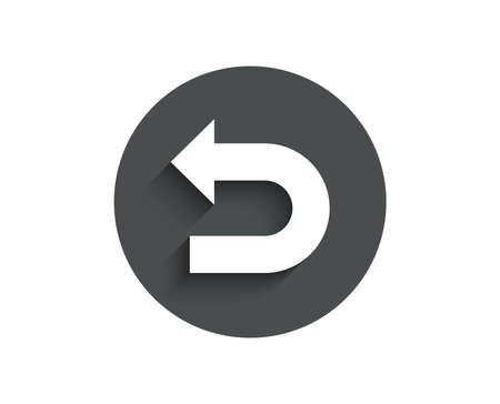 Illustration pour Undo arrow simple icon. Left turn direction symbol. Navigation pointer sign. Circle flat button with shadow. Vector - image libre de droit