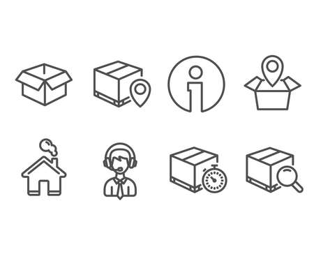 Illustration pour Set of Opened box, Shipping support and Parcel tracking icons. Delivery timer, Package location and Search package signs. Shipping parcel, Delivery manager, Express logistics. Tracking service - image libre de droit