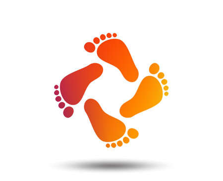 Ilustración de Baby footprints icon. Child barefoot steps. Toddler feet symbol. Blurred gradient design element. Vivid graphic flat icon. Vector - Imagen libre de derechos