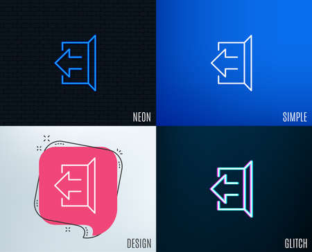 Illustration for Glitch, Neon effect. Logout arrow line icon. Sign out symbol. Navigation pointer. Trendy flat geometric designs. Vector - Royalty Free Image