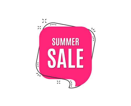 Ilustración de Summer Sale. Special offer price sign. Advertising Discounts symbol. Speech bubble tag. Trendy graphic design element. Vector - Imagen libre de derechos