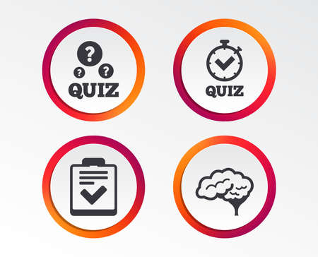 Illustration pour Quiz icons. Human brain think. Checklist and stopwatch timer symbol. Survey poll or questionnaire feedback form sign. Infographic design buttons. - image libre de droit