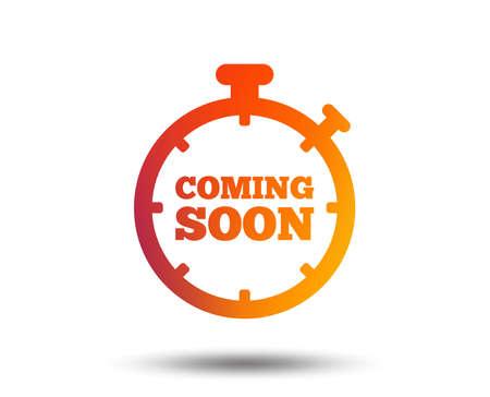 Illustration pour Coming soon sign icon. Promotion announcement symbol. Blurred gradient design element. Vivid graphic flat icon. Vector - image libre de droit