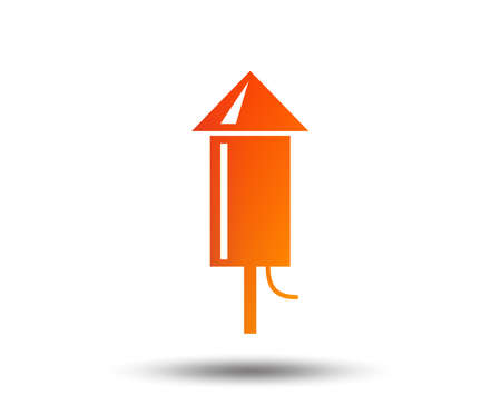 Illustration for Fireworks rocket sign icon. Explosive pyrotechnic device symbol. Blurred gradient design element. - Royalty Free Image
