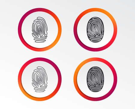 Ilustración de Fingerprint icons. Identification or authentication symbols. Biometric human dabs signs. Infographic design buttons. Circle templates. Vector - Imagen libre de derechos