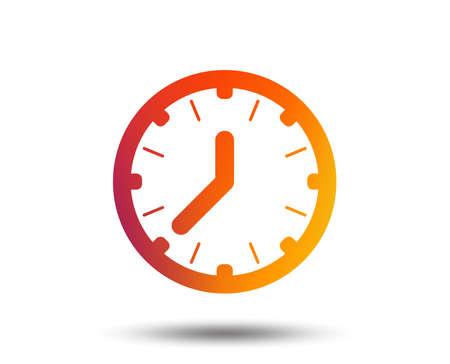 Ilustración de Clock time sign icon. Mechanical watch symbol. Blurred gradient design element. Vivid graphic flat icon. - Imagen libre de derechos