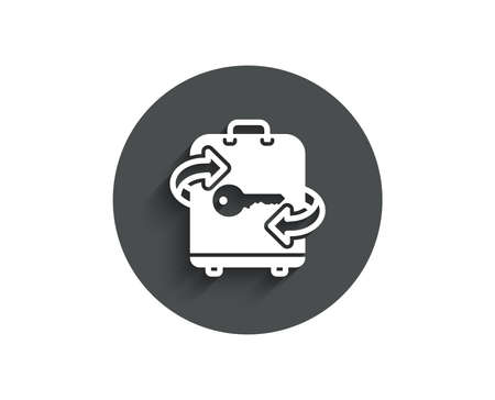 Illustration pour Luggage room simple icon. Baggage Locker sign. Travel service symbol. Circle flat button with shadow. - image libre de droit
