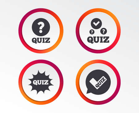 Illustration pour Quiz icons. Speech bubble with check mark symbol. surprise boom sign. Infographic design buttons. Circle templates. Vector - image libre de droit