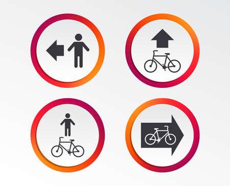 Ilustración de Pedestrian road icon. Bicycle path trail sign. Cycle path. Arrow symbol. Infographic design buttons. Circle templates. Vector - Imagen libre de derechos