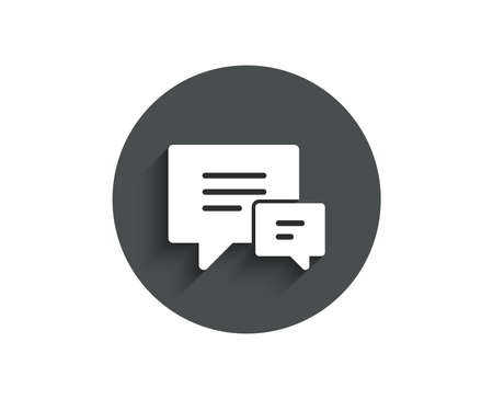 Ilustración de Chat simple icon. Speech bubble sign. Communication or Comment symbol. Circle flat button with shadow. Vector - Imagen libre de derechos