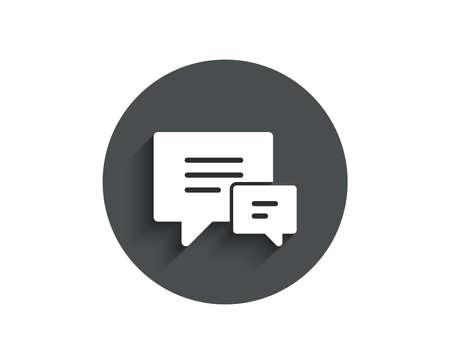 Illustration pour Chat simple icon. Speech bubble sign. Communication or Comment symbol. Circle flat button with shadow. Vector - image libre de droit