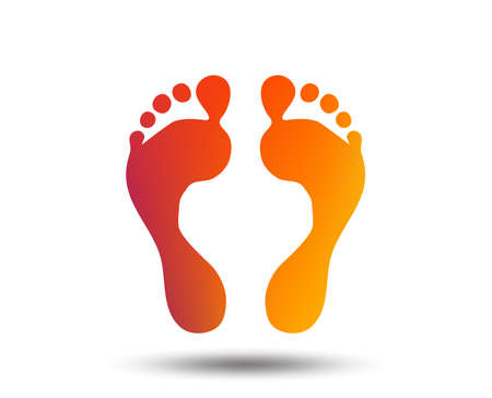 Ilustración de Human footprint sign icon. Barefoot symbol. Foot silhouette. Blurred gradient design element. Vivid graphic flat icon. Vector - Imagen libre de derechos