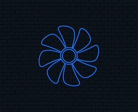 Ilustración de Neon light of  Ventilation sign icon. Ventilator symbol. Glowing graphic design. Brick wall. Vector - Imagen libre de derechos