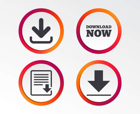 Illustration pour Download now icon. Upload file document symbol. Receive data from a remote storage signs. Infographic design buttons. Circle templates. Vector - image libre de droit