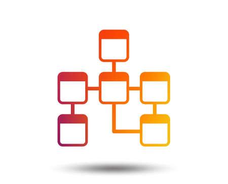 Ilustración de Database sign icon on Relational database schema symbol. Blurred gradient design element. - Imagen libre de derechos