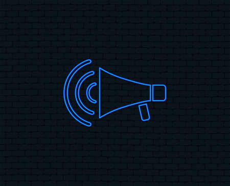 Ilustración de Neon light. Megaphone sign icon. Loudspeaker strike symbol. Glowing graphic design. Brick wall. Vector - Imagen libre de derechos