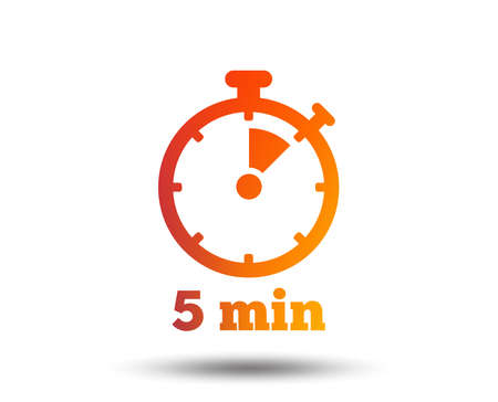 Ilustración de Timer sign icon of 5 minutes stopwatch symbol. Blurred gradient design element. - Imagen libre de derechos