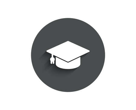 Illustration pour Graduation cap simple icon.  Circle flat button with shadow. - image libre de droit