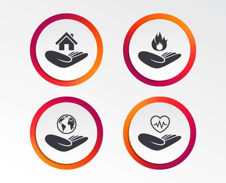 Ilustración de Helping hands icons. Health and travel trip insurance symbols. - Imagen libre de derechos