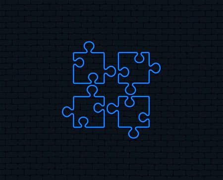 Illustration pour Neon light. Puzzle pieces sign icon. Strategy symbol. Glowing graphic design. Brick wall. Vector - image libre de droit