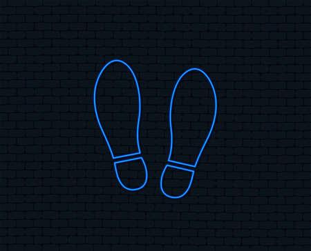 Ilustración de Neon light. Imprint soles shoes sign icon. Shoe print symbol. Glowing graphic design. Brick wall. Vector - Imagen libre de derechos