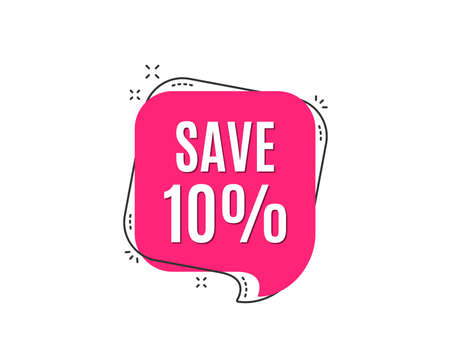 Illustration pour Save 10% off. Sale Discount offer price sign. Special offer symbol. Speech bubble tag. Trendy graphic design element. Vector - image libre de droit