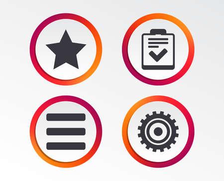 Illustration pour Star favorite and menu list icons. Checklist and cogwheel gear sign symbols. Infographic design buttons. Circle templates. Vector - image libre de droit