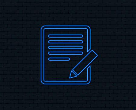 Illustration pour Neon light. Edit document sign icon. Edit content button. Glowing graphic design. Brick wall. Vector - image libre de droit