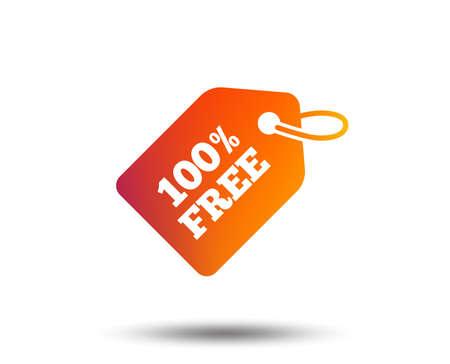Ilustración de Free tag icon. Freebies banner symbol. Shopping special offer sign. Blurred gradient design element. Vivid graphic flat icon. Vector - Imagen libre de derechos