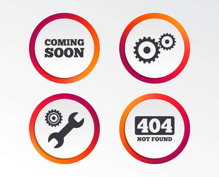 Illustration pour Coming soon icon. Repair service tool and gear symbols. Wrench sign. 404 Not found. Infographic design buttons. Circle templates. Vector - image libre de droit