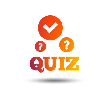 Illustration pour Quiz with check and question marks sign icon. Questions and answers game symbol. Blurred gradient design element. Vivid graphic flat icon. Vector - image libre de droit