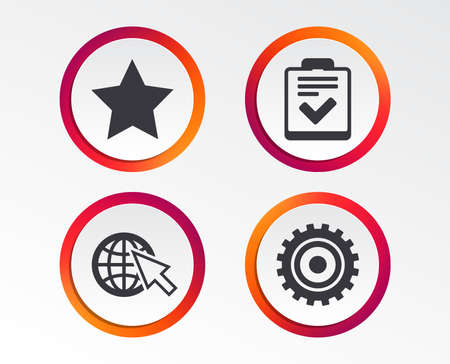 Illustration pour Star favorite and globe with mouse cursor icons. Checklist and cogwheel gear sign symbols. Infographic design buttons. Circle templates. Vector - image libre de droit