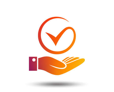 Illustration pour Tick and hand sign icon. Palm holds check mark symbol. Blurred gradient design element. Vivid graphic flat icon. - image libre de droit