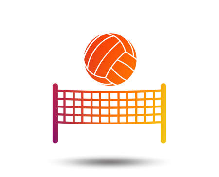 Ilustración de Volleyball net with ball sign icon. Beach sport symbol. Blurred gradient design element. Vivid graphic flat icon. - Imagen libre de derechos