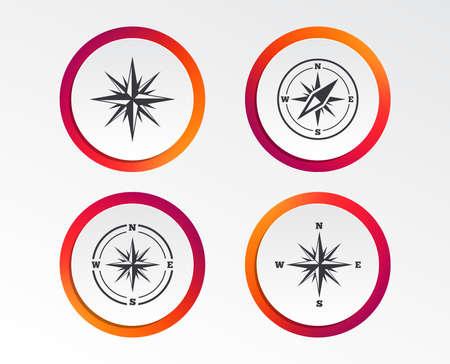 Illustration pour Windrose navigation icons. Compass symbols. Coordinate system sign. Infographic design buttons. Circle templates. - image libre de droit