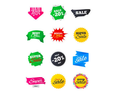 Illustration pour Sale banners. Best offers, discounts tags. Market sale Clearance special offers. Shopping sale stars templates. Vector illustration - image libre de droit