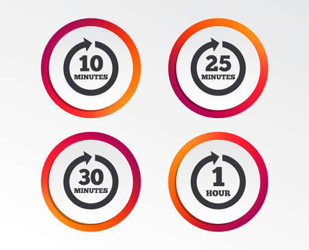 Illustration for Every 10, 25, 30 minutes and 1 hour icons. Full rotation arrow symbols. Iterative process signs. Infographic design buttons. Circle templates. Vector - Royalty Free Image