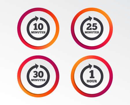 Ilustración de Every 10, 25, 30 minutes and 1 hour icons. Full rotation arrow symbols. Iterative process signs. Infographic design buttons. Circle templates. Vector - Imagen libre de derechos