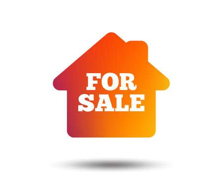 Ilustración de For sale sign icon. Real estate selling. Blurred gradient design element. Vivid graphic flat icon. - Imagen libre de derechos