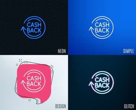 Ilustración de Glitch, Neon effect. Cashback service line icon. Money transfer sign. Rotation arrow symbol. Trendy flat geometric designs. - Imagen libre de derechos