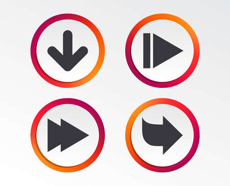 Illustration pour Arrow icons. Next navigation arrowhead signs. Direction symbols. Infographic design buttons. Circle templates. Vector - image libre de droit