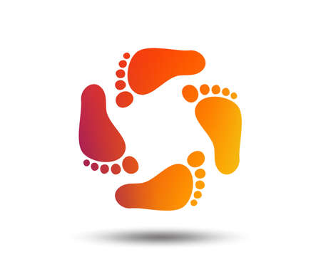 Ilustración de Baby footprints icon. Child barefoot steps. Toddler feet symbol. Blurred gradient design element. Vivid graphic flat icon. Vector - Imagen libre de derechos