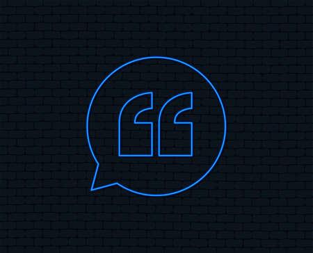 Illustration pour Neon light. Quote sign icon. Quotation mark in speech bubble symbol. Double quotes. Glowing graphic design. Brick wall. Vector - image libre de droit