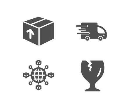 Illustration pour Set of Package, Truck delivery and Logistics network icons. Fragile package sign. Delivery pack, Express service, International tracking. Safe shipping.  Quality design elements. Classic style. Vector - image libre de droit