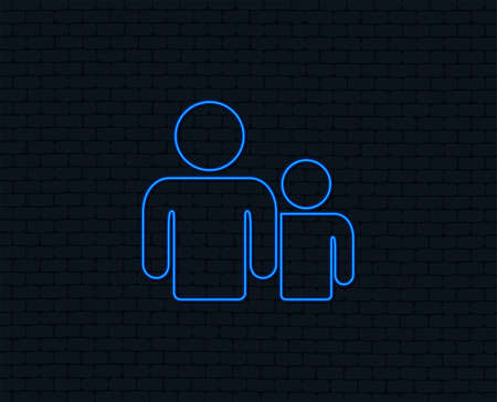 Illustration pour Neon light. Group of people sign icon. Share symbol. Glowing graphic design. Brick wall. Vector - image libre de droit