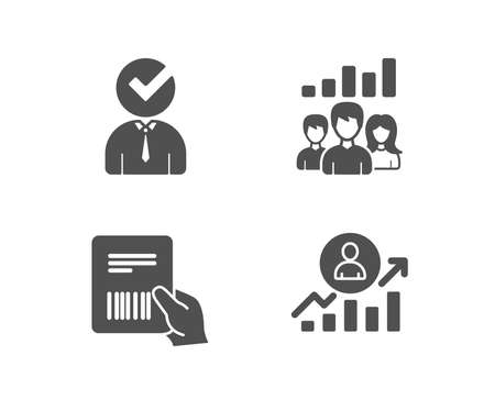 Illustration pour Set of Vacancy, Teamwork results and Parcel invoice icons. Career ladder sign. Businessman concept, Group work, Delivery document. Manager results.  Quality design elements. Classic style. Vector - image libre de droit