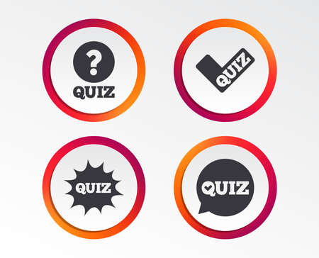 Illustration pour Quiz icons. Speech bubble with check mark symbol. Explosion boom sign. Infographic design buttons. Circle templates. Vector - image libre de droit