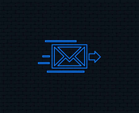 Illustration pour Neon light. Mail delivery icon. Envelope symbol. Message sign. Mail navigation button. Glowing graphic design. Brick wall. Vector - image libre de droit