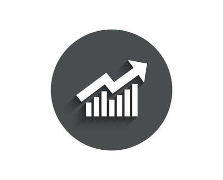Ilustración de Chart simple icon. Report graph or Sales growth sign. Analysis and Statistics data symbol. Circle flat button with shadow. Vector - Imagen libre de derechos