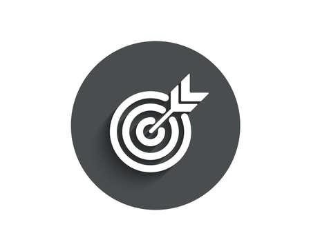 Ilustración de Target simple icon. Marketing targeting strategy symbol. Aim with arrows sign. Circle flat button with shadow. Vector - Imagen libre de derechos
